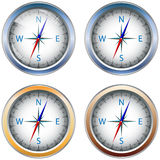 Compass. Four abstract icons in the form of a compass for designers to different necessities on a white background Royalty Free Stock Photo