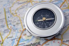 Compass. Is on a map Stock Photo
