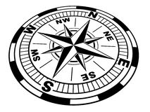 The compass. (black and white Royalty Free Stock Photography