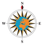 Compass. With a globe on the middle Stock Image