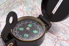 Compass. Over map Royalty Free Stock Image