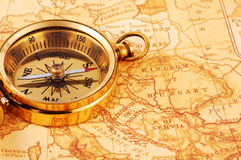 Compass. Photo of a Compass on a Map