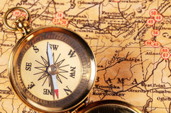 Compass. On a Map Stock Photography
