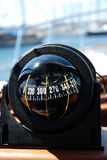 Compass... Luxury boat crossing the biscayne bay in Istanbul Royalty Free Stock Photography