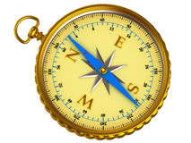 Compass. Yellow compass on white background stock photo