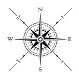 Compass. Vector wind rose compass silhouette