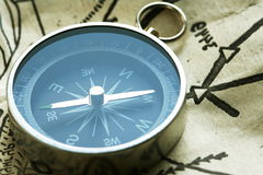 Compass. Mining compass on the map Stock Image