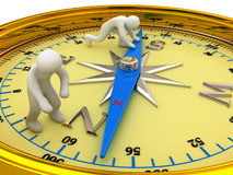 Compass. Yellow compass and two persons stock illustration