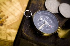 Compass. Map is a drawing or plan of the surface of the earth that shows countries, mountains, roads, etc Stock Photo