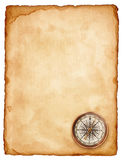 Compass. Vintage compass on old paper Stock Photography