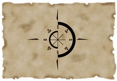 Compass. On aged paper Royalty Free Stock Photos