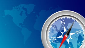 Compass. Blue background and compass.vector illustration Stock Image