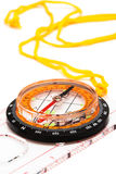 Compass. With a yellow cord on a white background Stock Photography