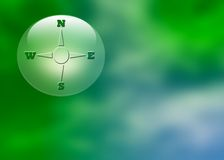 Compass on abstract background. A directional compass on an abstract blue and green background royalty free illustration