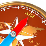 Compass aim. A compass with world map background and the needle pointing towards the word aim Royalty Free Stock Photo