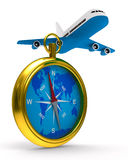 Compass and airplane on white background Royalty Free Stock Photos