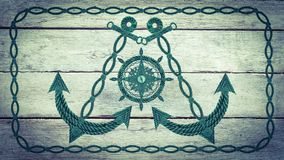 Compass anchor and steering wheel. Made of old ropes Royalty Free Stock Images