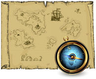 Compass with ancient map Royalty Free Stock Image