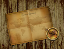 Compass and ancient paper on wooden background.vector illustration Stock Image