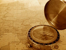 Free Compass And Map Stock Photography - 12906422