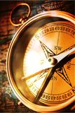 Compass. Antique direction hiking macro planning cartography Stock Photography