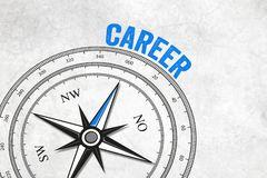 Compass with arrow and career royalty free illustration