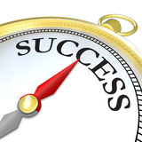 Compass Arrow Pointing to Success Reaching Goal. A compass with the word Success and a red arrow needle pointing to it, symbolizing that the search mission of Royalty Free Stock Images