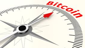 Compass with arrow pointing to the word Bitcoin. 3D rendering Royalty Free Stock Photo