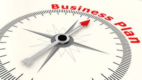 Compass with arrow pointing to the word Business Plan. 3D rendering Royalty Free Stock Photography