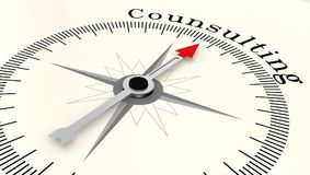 Compass with arrow pointing to the word Counsulting. 3D rendering Stock Photo