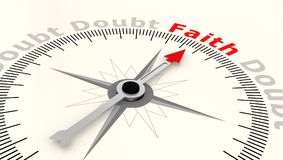 Compass with arrow pointing to the word faith vector illustration