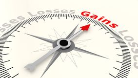Compass with arrow pointing to the word gains. 3D rendering Royalty Free Stock Photography