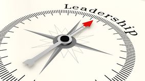 Compass with arrow pointing to the word Leadership. 3D rendering Stock Photo