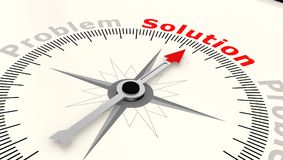 Compass with arrow pointing to the word solution. 3D rendering Stock Photos