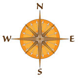 Compass With Arrow Points. Vector drawing of a compass in brown, tan and orange with directional letters and arrow points Stock Photo