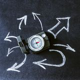 Compass among the arrows on black background. stock images