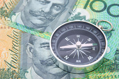 Compass on australia dollar bill. Background