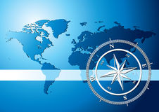 Compass background. Silver compass with world map background, vector illustration - World map Courtesy of NASA, author Tinka Sloss Royalty Free Stock Image