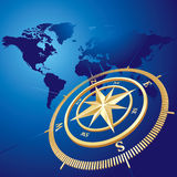 Compass background. Gold compass, vector background. NASA Map used Royalty Free Stock Images