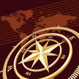 Compass background. Gold compass, vector background. NASA Map used Stock Photos