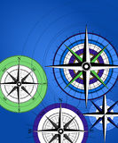 Compass Background. Background with colorful compass icons stock illustration