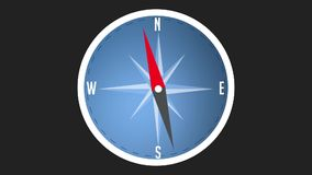 Compass background animation with moving arrow. Backdrop of navigation interface stock illustration