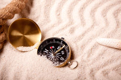 Compass on beach Royalty Free Stock Photography