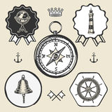 Compass bell lighthouse marine nautical icon sign logo label set Stock Photo