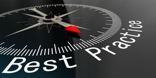 Compass with best practice word. 3D rendering Royalty Free Stock Images