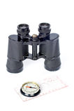 Compass and binoculars Royalty Free Stock Photography