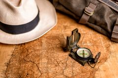 Old map with compass and binoculars Stock Images