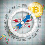 Compass Bitcoin Crypto Currency. Compass with cryptocurrency abbrevation, golden Bitcoin coin and growing market chart Stock Image