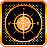 Compass on black and orange halftone web icon royalty free illustration