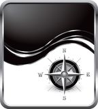 Compass on black wave background Royalty Free Stock Image